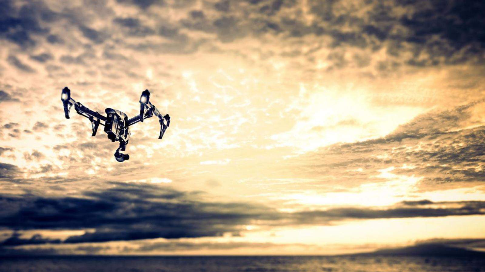 Flying drone in the sky.